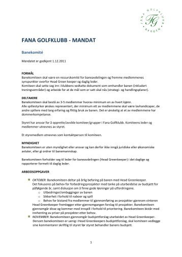 FANA GOLFKLUBB - MANDAT