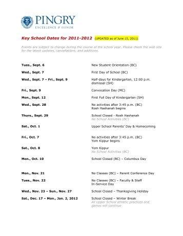 Key Dates Calendar for 2011-2012 - Pingry School