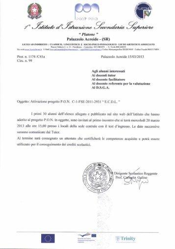 """Attivazione progetto P O N """"ECDL ... - Liceo Platone"""