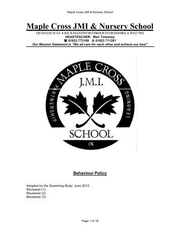 Behaviour Policy - Maple Cross JMI & Nursery School