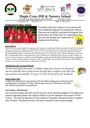 Week 29 - 4th May - Maple Cross JMI & Nursery School