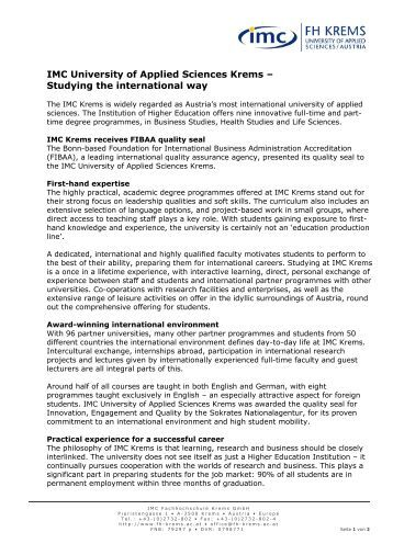 Press information English 2011 - IMC Fachhochschule Krems GmbH