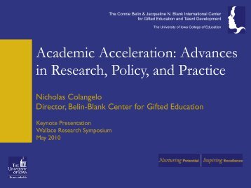 Academic Acceleration: Advances in Research, Policy, and Practice