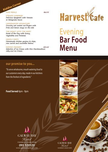 Evening Bar Food Menu - Galway Bay Hotel