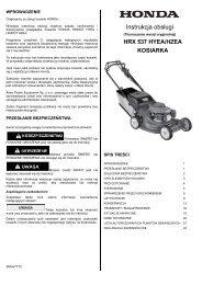 Cennik Agregaty Prädotwã³rcze Honda 2012