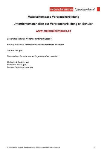 Materialkompass Verbraucherbildung Unterrichtsmaterialien zur ...