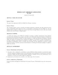 Bylaws - Middle East Librarians Association