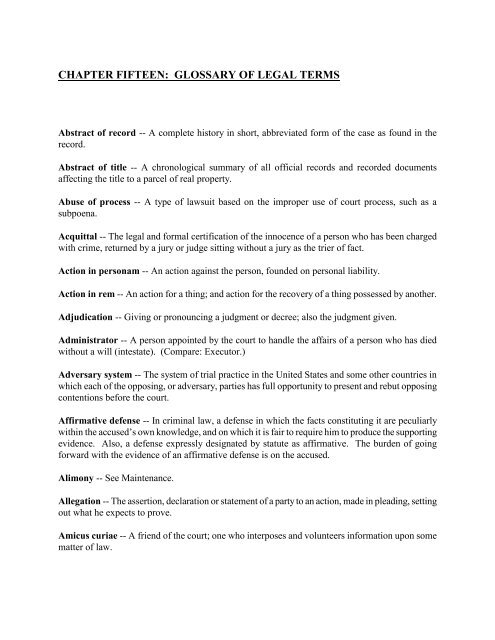 chapter 15: glossary of legal terms - Illinois State Bar