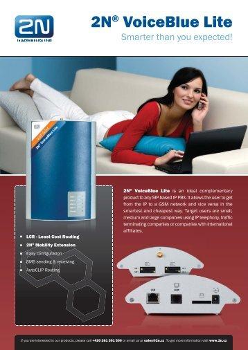 2N® VoiceBlue Lite - product leaflet - 2N Telekomunikace a.s.