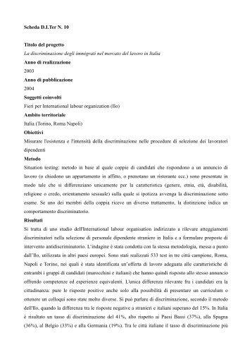 La discriminazione degli immigrati nel mercato del ... - Stranieri in Italia