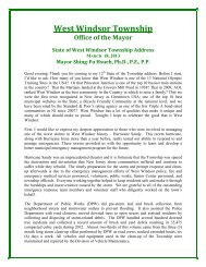 Mayor's State of the Township Address - 2013 - West Windsor ...