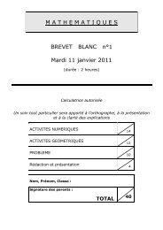 M A T H E M A T I Q U E S BREVET BLANC n°1 Mardi 11 janvier 2011