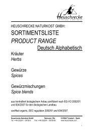 sortimentsliste product range - HEUSCHRECKE Naturkost GmbH