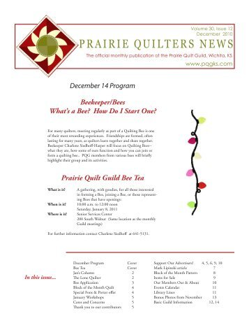 PRAIRIE QUILTERS NEWS - Prairie Quilt Guild