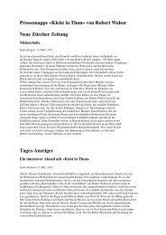 Pressemappe «Kleist in Thun» von Robert Walser Neue Zürcher ...