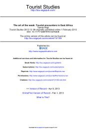 The art of the weak: Tourist encounters in East Africa - Tourist Studies