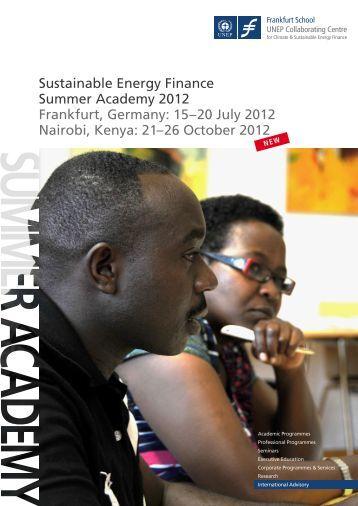 Sustainable Energy Finance Summer Academy 2012 Frankfurt ...