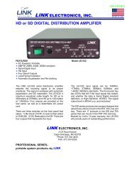 HD or SD DIGITAL DISTRIBUTION AMPLIFIER - Link Electronics, Inc.