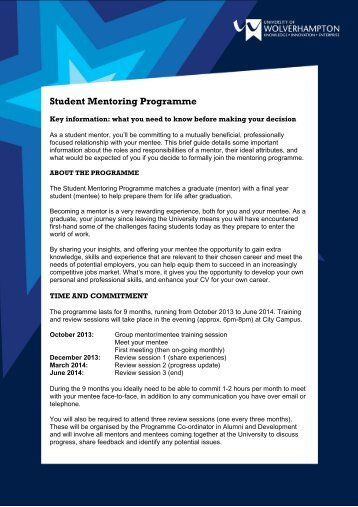 Student Mentoring Programme - University of Wolverhampton