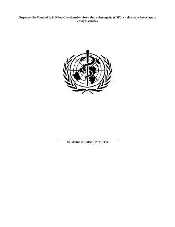 Organización Mundial de la Salud Cuestionario sobre salud y ...