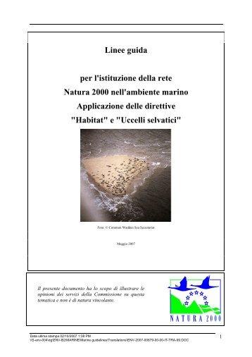 Linee guida per listituzione della rete Natura 2000 - Comunità ...