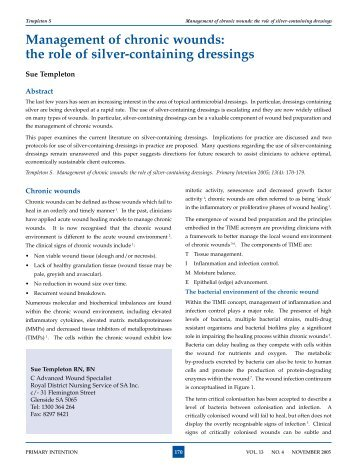 Management of chronic wounds: the role of silver-containing dressings