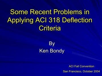 Some Recent Problems in Applying ACI 318 Code ... - Ken Bondy