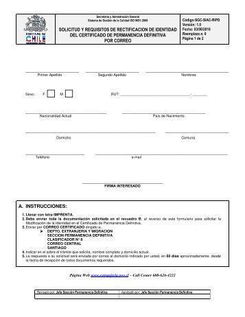 solicitud y requisitos de rectificacion de identidad del certificado de ...
