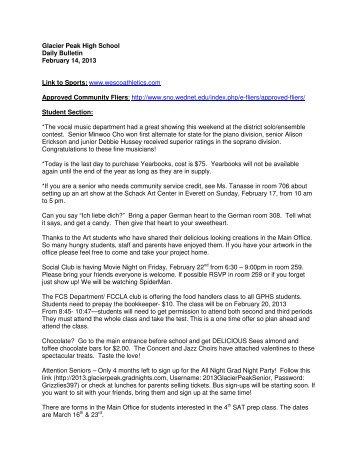 Glacier Peak High School Daily Bulletin February 14, 2013 Link to ...
