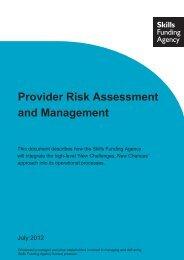 Provider Risk Assessment and Management document - lsc.gov.uk