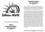 Thema: Unterricht im Beten - das Vaterunser - markus