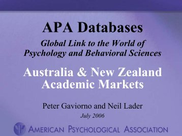 APA Databases - Global Link to the World of Psychology and ...