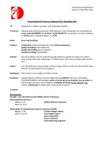 Transportplan til U2-kursus 25-27/11 2011 Nord