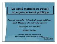 La santé mentale au travail: un enjeu de santé publique (Michel ...
