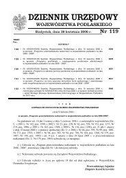 DZIENNIK URZĘDOWY - Podlaski Urząd Wojewódzki w Białymstoku