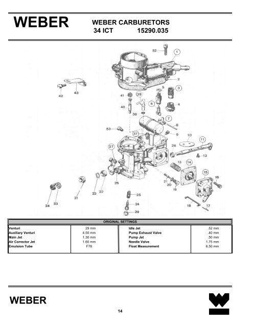 WEBER CARBURETORS 34 ICT 15290 035