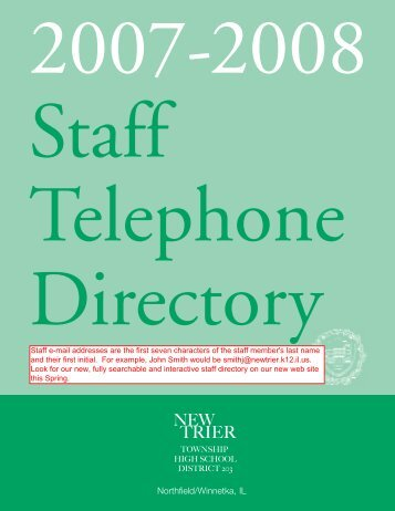 staff directory 07 - New Trier Township High School District 203
