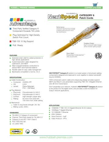 NEXTSPEED® Category 6 Patch Cords - Hubbell Premise Wiring