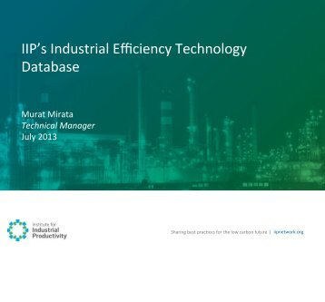 IIP's Industrial Efficiency Technology Database - Institute for ...