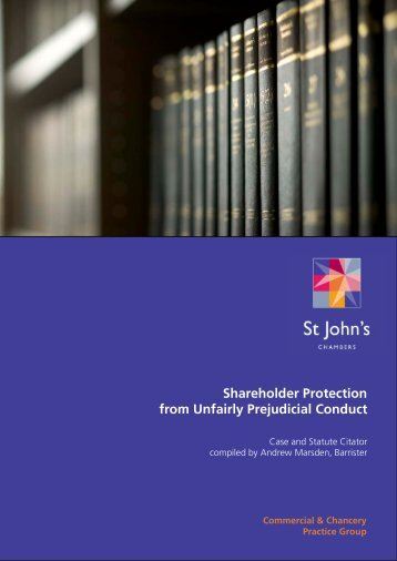 Shareholder Protection from Unfair Prejudice Case and Statute Citator