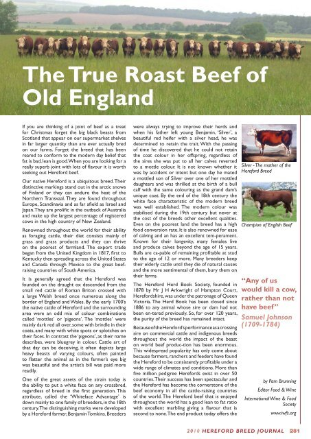 The True Roast Beef Of Old England Hereford Cattle Society