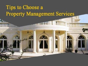 Tips to Choose the Best Property Management Service