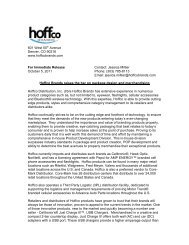 For Immediate Release Hoffco Brands Raises The Bar On Package