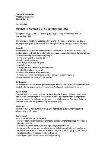 Journalistik, medier og uddannelsen - Danmarks Medie- og ...