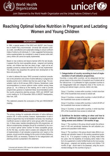 Reaching Optimal Iodine Nutrition in Pregnant and Lactating Women