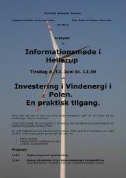 Informationsmøde i Hellerup Investering i Vindenergi i Polen. En ...