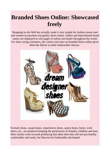 Branded Shoes Online: Showcased freely