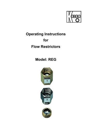 Operating Instructions for Flow Restrictors Model: REG - Kobold