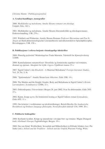 Fullstendig publikasjonsliste - Universitetet i Bergen