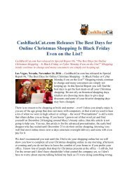 CashBackCat.com Releases The Best Days for Online Christmas Shopping Is Black Friday Even on the List?